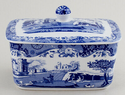 Spode Blue Italian Butter Dish  With Lid Excellent Condition