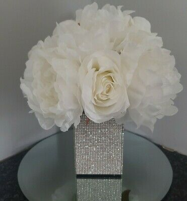 Beautiful glitzy sparkly silk grey  flower arrangement in a stunning  varse