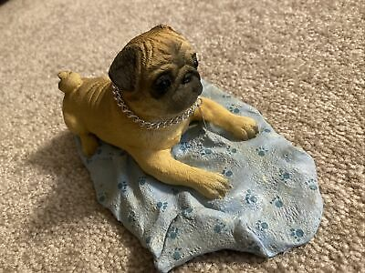 Fawn Pug MY DOG  Figurine Statue Pet Lovers Gift Resin Hand Painted Figure