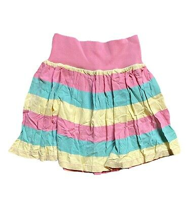 Retro 80's Girls Summer Skirt Striped Elastic Waist Age 6-7yrs