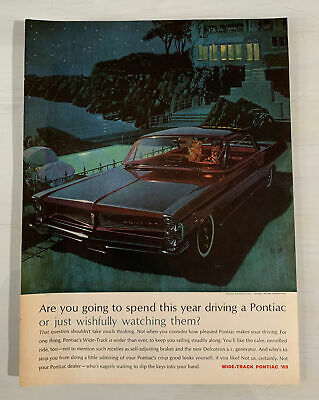 "1963 Pontiac AF VK  Art Original Print Ad 8.5 x 11"" Advertisement"