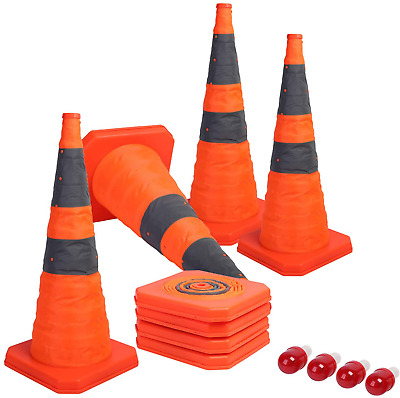 Sunnyglade [4-Pack] 28 inch Collapsible Traffic Cones with LED Light Multi Purpo