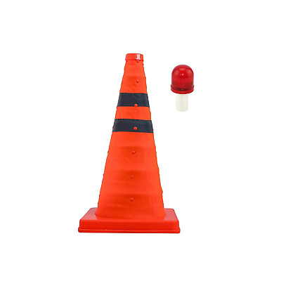 """LifeSupplyUSA Road Safety Extendable Traffic Cone 18"""" with LED Light Lamp Topper"""