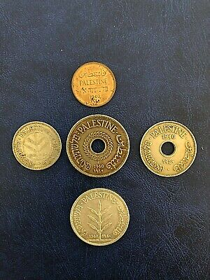 Lot coins Palestine 1, 10, 20, 50 & 100 Mils 1940 (Silver), Full Set, Some Rare