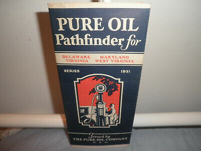 Vintage Pure Oil Pathfinder 1931 Map-Delaware, Maryland, Virginia, W. Virginia