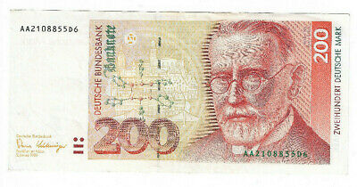 Germany: 200 Deutsche Mark banknote from 1989 in XF+ Condition DEM. AA2108855D6