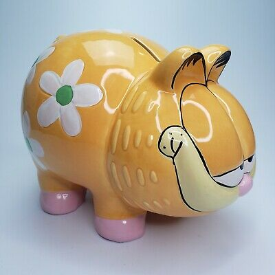 Vintage Large Garfield Flower Power Ceramic Piggy Bank w/ stopper PAWS Rare