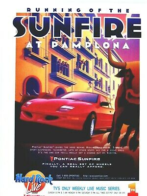 1997 Pontiac Sunfire GT Running Of The Bulls Pamplona Original Print Ad 8.5x 11""