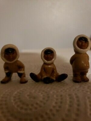 Vintage Miniature Hagen Renaker Inuit Figurines Set Of Three #943,#944,#945