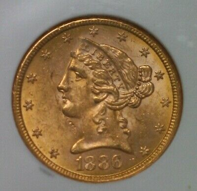 1886-S $5 Gold Indian Head Coin Ngc Ms62***************