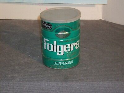Folger's Collectible Coffee Tin. 1 lb 10 oz, green painted label, with orig lid