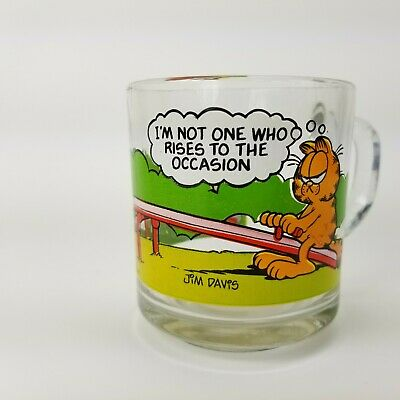 Vintage Garfield Glass Mug McDonald's I'm Not One Who Rises to the Occasion 1978