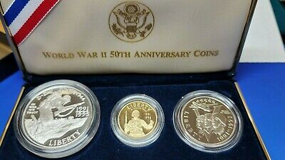 1991-1995 WORLD WAR II 50th Anniversary 3 Coin GOLD SILVER PROOF SET US MINT