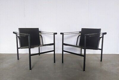 LC1 armchairs by Le Corbusier, Pierre Jeanneret, Charlotte Perriand for Cassina,