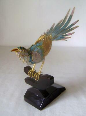 Vintage Chinese Cloisonne Enamel Bird on Stand:  20 cm long