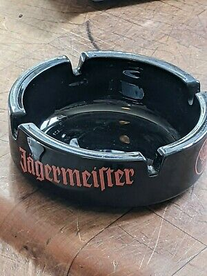 """Black Glass Jagermeister Ashtray with Lettering and Logo - 4"""" - Great Condition"""