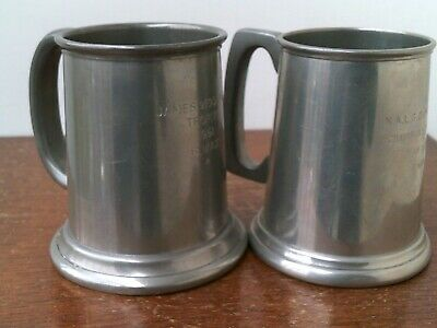 Vintage (1960's) English Pewter Tankards x 2.