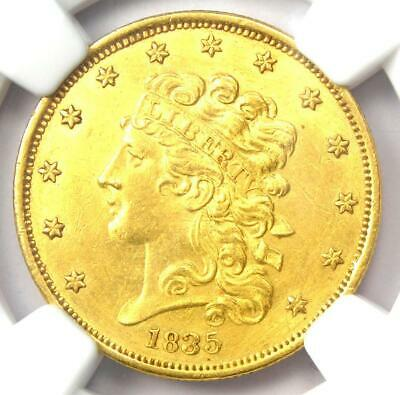 1835 Classic Gold Half Eagle $5 Coin. Certified NGC Uncirculated Detail (UNC MS)