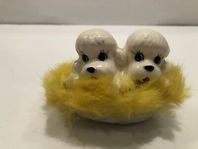 Vintage Poodle Dogs in Basket with Yellow Fur Lining Marked Japan           01