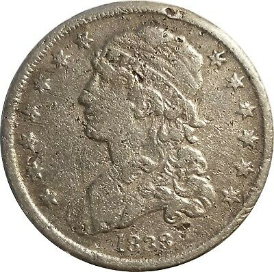 1838 Capped Bust Silver Quarter, Fine Details, Cleaned, Surface Damage