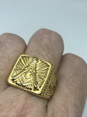 Vintage Free Mason Ring Golden Stainless Steel Size 12