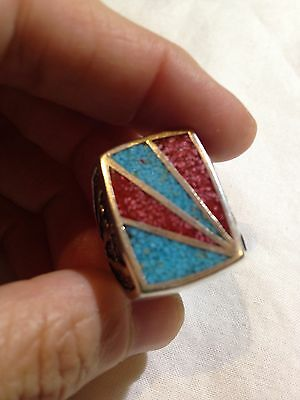 Vintage Coral Turquoise Stone Inlay Southwestern Silver Men's Size 13.75 Ring