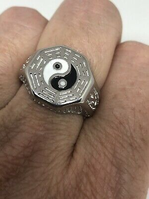 Vintage Ying Yang Men's Ring Stainless Steel Size 10.5