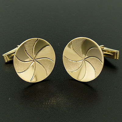 Men's 14k Yellow Gold Dual Finish 20mm Round Concave Swirl Design Cuff Links