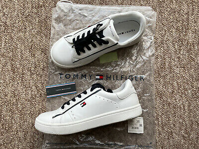 Superga S1112YW Sport Club White//Navy Leather Childrens Rip Tape Trainers