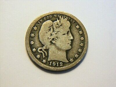 1912-P F/F- Silver Barber Quarter, Nice *Higher Grade* Coin for a collection