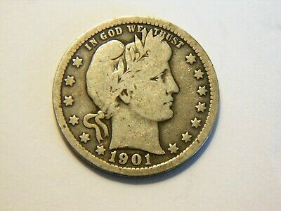1901-P VG+ Silver Barber Quarter,  Nice Vintage Coin for any collection