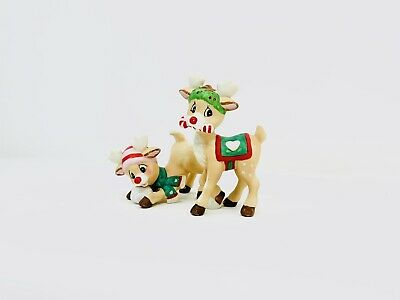 Vintage Ceramic Deers with Christmas Hat Figurines Home Decor Holidays Pre-owned