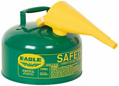 Eagle UI25FSG Green with Funnel Metal Safety Gas Can 2.5 gal Capacity