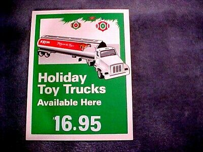 "Vintage EXXON Display Sign Tiger Holiday Truck Advertising Marketing 13""x10"""