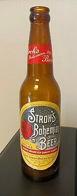 1950s Stroh's Bohemian Beer Glass Beer Bottle Intact Labels Detroit Michigan