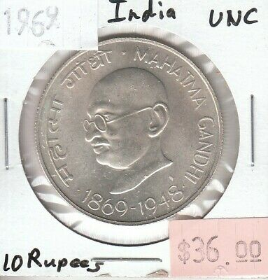 India 10 Rupees 1969 Silver UNC Uncirculated