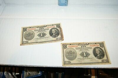1943 NEDERLANDSCH INDIE BANKNOTE 1 EEN NOTES CIRCULATED LOT of 2