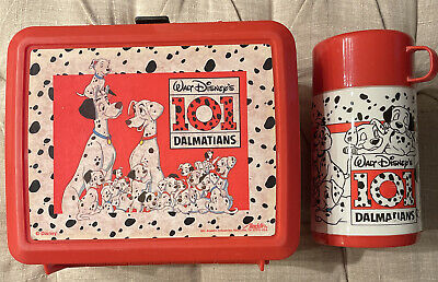 101 Dalmations 1990/'s Walt Disney Aladdin Plastic Thermos Dalmation Dogs Missing Cup Lid Vintage Thermos