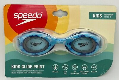 Speedo Kids Glide Print Goggle Yellow New Ages 3-8 years