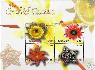 Gambia stamp 2004 Orchid Cactuses 4v mini  (ws 4527)