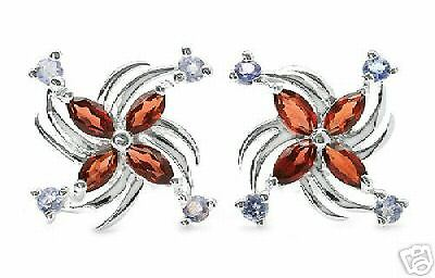 Pure Sterling Silver Genuine Garnet & Genuine Tanzanite Earrings    TE4
