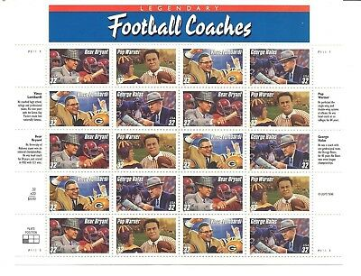 Football Coaches. Sheet Of 20 Unused Stamps From 1996.