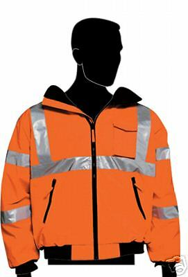 Ansi Class 3 Safety Bomber Jacket Orange 28-5953 Med