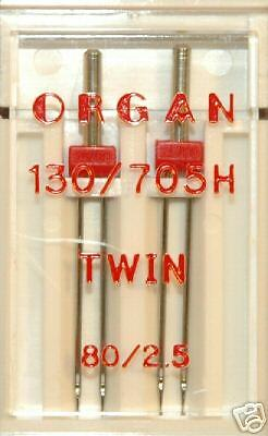 Organ Sewing Machine Needles - Twin Size 80 / 2.5 130/705H -Pkt of 2 - BLB86