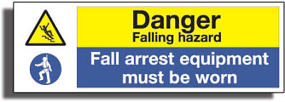 DANGER FALLING SIGN 3mm STRONG Gloss R /Plactic