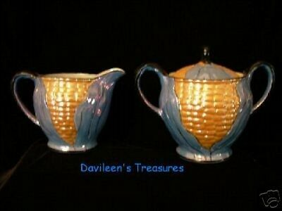 Noritake Lusterware Creamer and Sugar (Corn Decor)