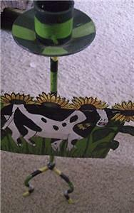 Cow & Sunflower Hand Painted Metal Taper Candle Holder