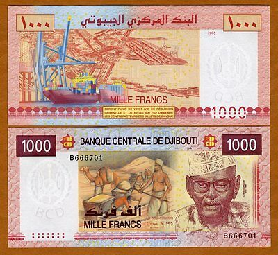 Djibouti / Africa, 1000 Francs, 2005, P-42, UNC