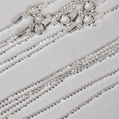 "10 Sterling Silver 925 16"" Diamond Cut BALL CHAINS Lot"