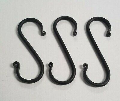 Hand Forged Black Wrought Iron S Hooks Medium Lot of 3 USA Amish Made